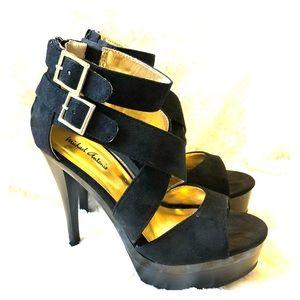 Michael Antonio Strappy Black Platform Heels